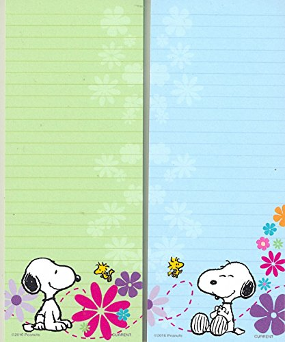 Peanuts Worldwide Spring Flowers Snoopy and Woodstock Lined Magnetic Notepads Shopping List, 2-Pack - Shopping Worldwide