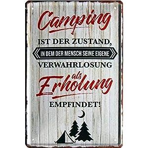 Camping Regeln - Glücklich aufwachen Camper 20x30 cm Blechschild 1157