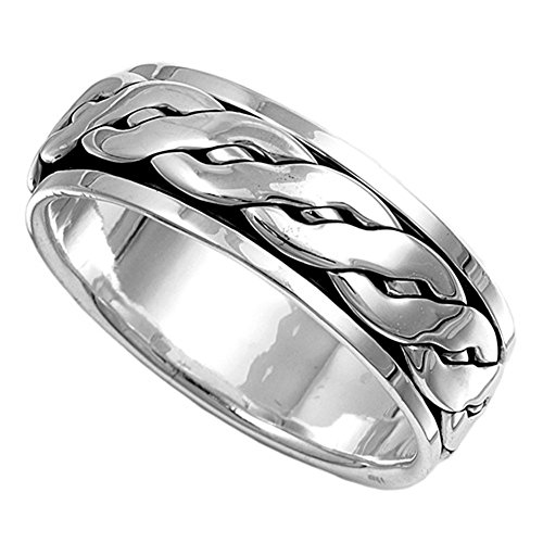 Sterling Silver Men's Celtic Knot Spinner Ring Wholesale Band 8mm Size 11 ()