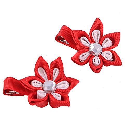 Patriotic Petals - Kanzashi Flower Double Petal 4th of July Patriotic Hair Clip Red White [Pair]