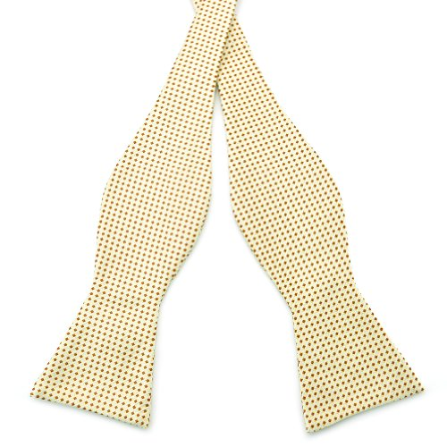 PenSee Mens Self Bow Tie Gold & Yellow & Coffee Plaids Stripe Woven Silk Bow Ties