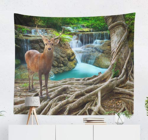 """Kutita Tapestry Wall Hanging Deer Standing Tree Front Lime Stone Water Deep and Forest Wild Life Nature Wall Tapestry Home Decorations for Bedroom Living Room Dorm Decor in 60"""" wX50 L Inches"""