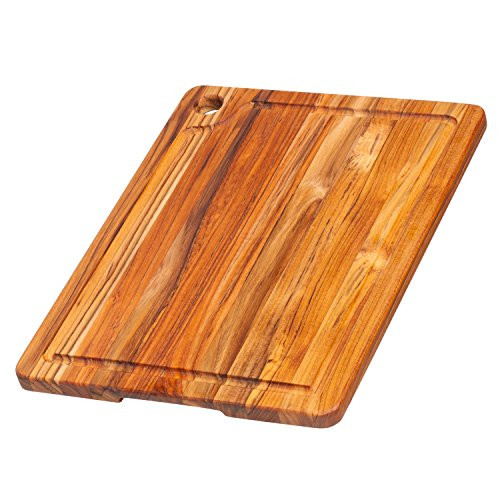 (Teak Cutting Board - Rectangle Edge Grain Board With Corner Hole And Juice Canal (16 x 12 x .5 in.) - By Teakhaus)