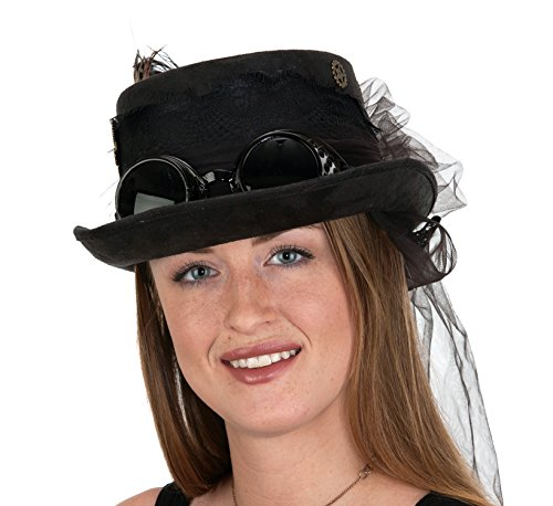Jacobson Hat Company Deluxe Velvet 4.25 Inch Steampunk Top Hat with Removable Goggles,Black,One Size ()
