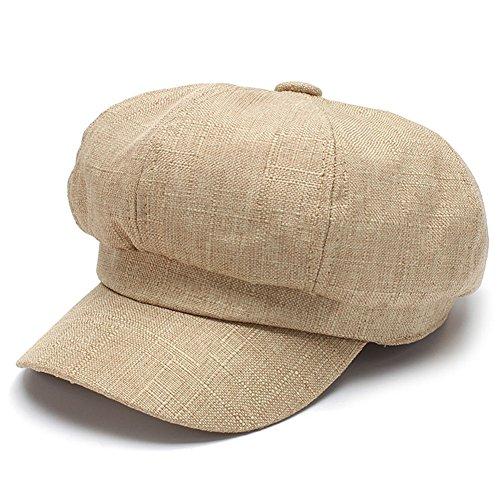HH HOFNEN Classic Solid Newsboy Cabbie Beret Cap Unisex Linen Painter Visor Hat (Blend Newsboy)
