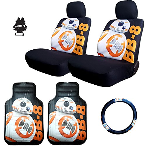 New Star Wars BB8 Car Truck SUV Seat Covers Steering Wheel Cover Floor Mats with Air Freshener ()