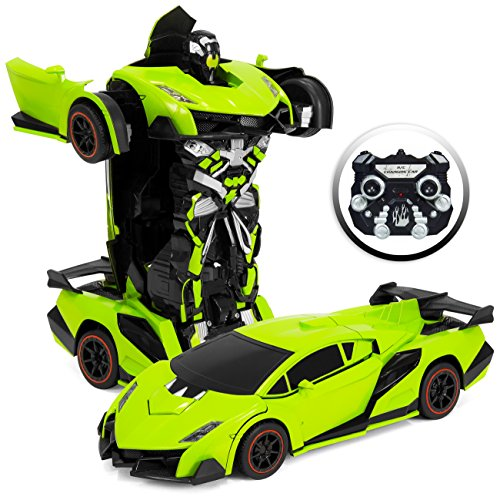 Best Choice Products 1:16 Scale Large Size Kids Interactive Transforming RC Remote Control Robot Drifting Sports Race Car Toy w/ Sounds, LED Lights - Green