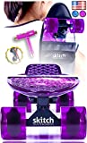 Pink Purple Penny Board Style Skateboards for Girls - Skitch Complete 22 Inch Mini Cruiser Skateboard Gift Sets for All Ages and Skill Levels