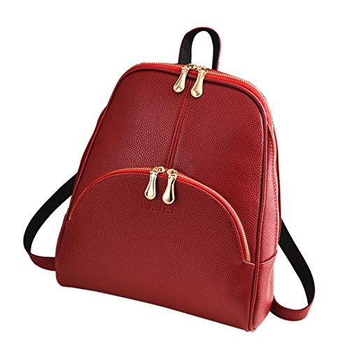Moda Cremallera Coreano h Rojo De Bolso Color Wewod Pu 25 w 10 Cuero Puro l Mochila Bolsa 30 X Viaje Mujeres Cm xFBXFwtqI