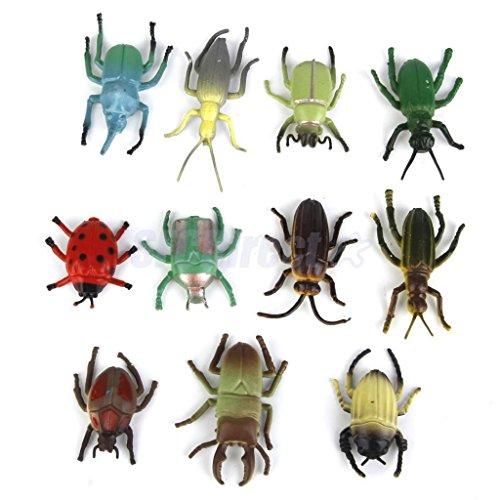 Shalleen 12pcs Assorted Plastic Animals Insect Bug Beetle Ladybug Figure Kids Joke Toy