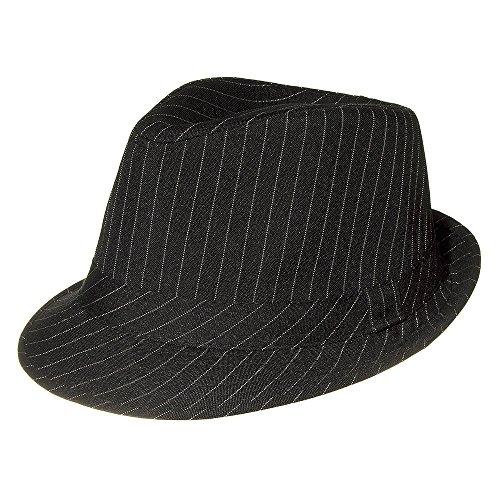 (Blue Banana Unisex-Adult's Pinstripe Trilby Hat - Small/Medium, Black)