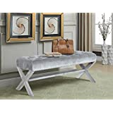 Iconic Home Neil Velvet Modern Contemporary Button Tufted with Silver Nailheads Seating, Frame and Legs X-Leg Tufted Bench, Grey
