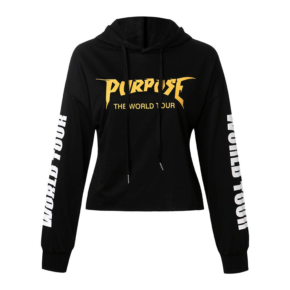 Amazon.com: Jussunnx Women Long Sleeve Printed Hoodie Sweatshirt Jumper Sweater Crop Tops Pullover: Clothing