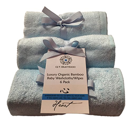Bamboo Washcloths Face Towels for Sensitive Skin Great for Baby or Adult 6 Pack (Blue)
