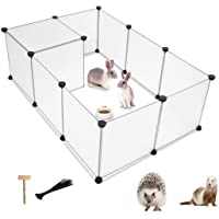 PINVNBY Small Pet Playpen Portable Resin Pet Yard Fence Puppy Crate Kennel for Dog Cat Kitten Rabbit Ferret Guinea Pig…