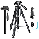 Neewer 70 inches Aluminium Camera Tripod Monopod with 3-Way Swivel Pan Head,Cellphone Holder,Bluetooth Remote,Bag for iPhone,Samsung,Huawei Smartphone,DSLR Camera,Load Up to 8.8 Pounds Black (SAB264)