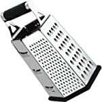 Cheese Grater Vegetable Slicer Stainless Steel 6 sides 9 5 Inch Height Rubber Handle Non Slip Rubber Bottom by Utopia Kitchen