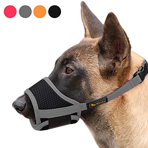 Heele Dog Muzzle Nylon Soft Muzzle Anti-Biting Barking Secure,Mesh Breathable Pets Mouth Cover for Small Medium Large Dogs 4 Colors 4 Sizes (M