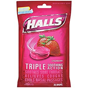 HALLS Cough Drops, (Strawberry, 30 Drops, 12-Pack)
