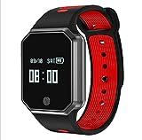 LJXAN Smart Bracelet Heart Rate Blood Pressure Blood Oxygen Waterproof Strap Detachable Bluetooth Sports Watch Bracelet Fitness Running Tracker,Red