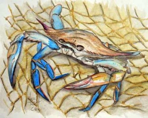 "Blue Crab by Mark Ray - 30"" x 24"" Premium Canvas Print"