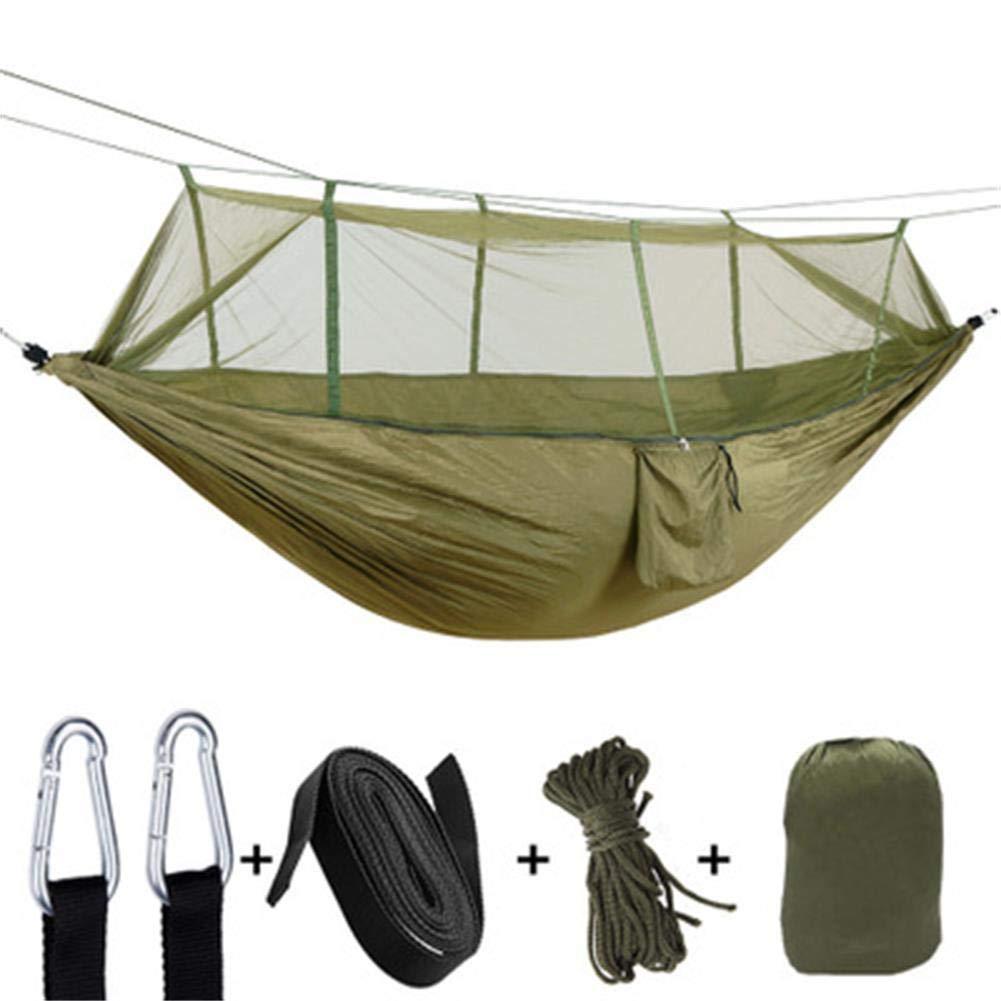 IW.HLMF Parachute Tuch Hängematte mit Moskitonetz Ultra Light Nylon Double Army Grün Camping Luft Zelt,A