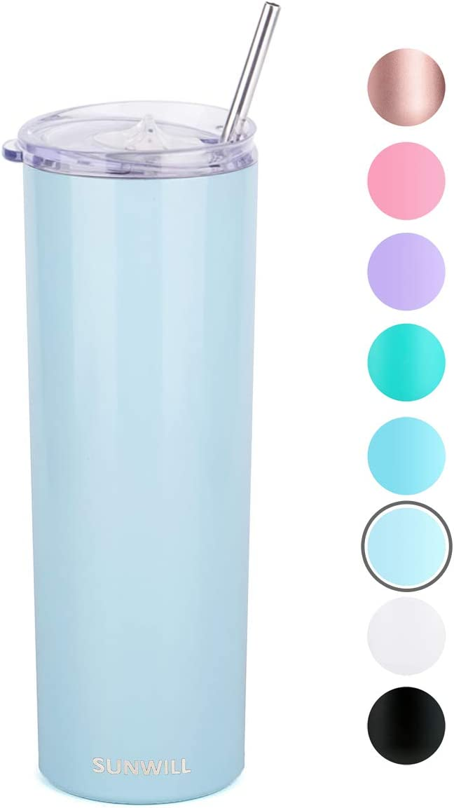 SUNWILL Straw Tumbler Skinny Travel Tumbler with Lid, Vacuum Insulated Double Wall Stainless Steel 20oz for Coffee, Tea, Beverages, Pearl Blue