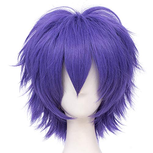 Max Beauty Unisex Anime Short Cosplay Short Wigs With Bangs Heat Resistant Hair for Party and Halloween for Gift + Free Cap (Dark Lavender)