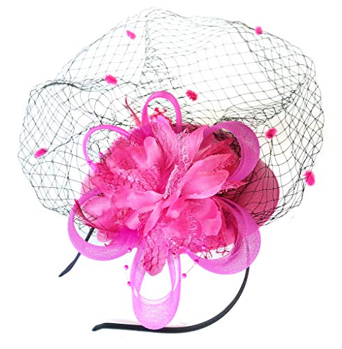 Fascinator Hats Pillbox Hat British Bowler Hat Flower Veil Wedding Hat Tea Party Hat (Rose Red) (Flower Kentucky State)
