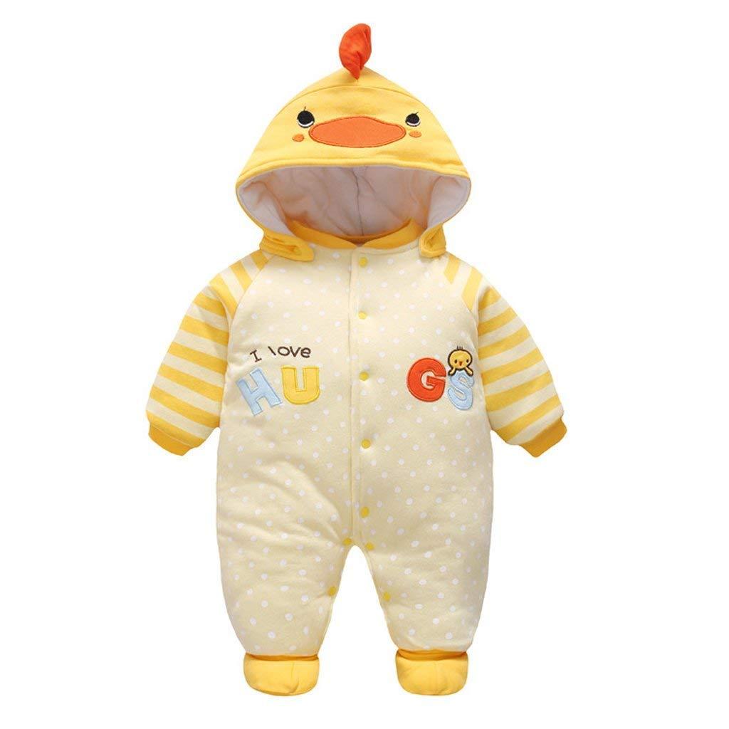 Baby Overall Strampler Winterjacke Onesie Unisex Cartoon Baby Strampelanzug mit Kapuze
