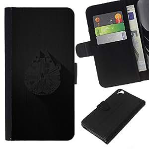 LECELL--Cuero de la tarjeta la carpeta del tirón Smartphone Slots Protección Holder For HTC Desire 820 -- Millenium Falcoln Barco --