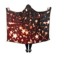 WUTMVING Hooded Blanket Pattern Star District Circular Arranged Blanket 60x50 Inch Comfotable Hooded Throw Wrap