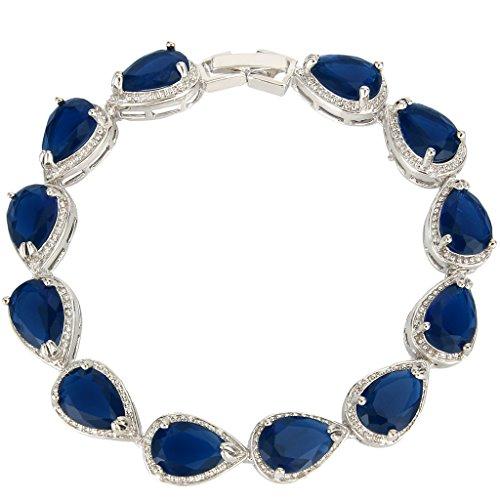 EVER FAITH Women's Prong CZ September Birthstone Teardrop Tennis Bracelet Sapphire Color (Roman Head Wear)