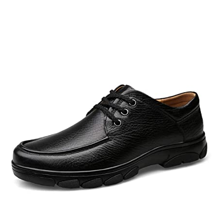 3a5f21eb7cb4 Hilotu Classic Shoes for Men s Fashion Oxford Casual Comfortable Breathable  Lace Leather Flat Heel Formal Shoes (Color   Black
