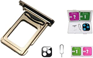 Real 11 Pro Single/Dual SIM Card Tray Slot Holder Adapter with Rubber Waterproof Gasket Ring for iPhone 11 Pro 11Pro +Camera Glass Case +Eject Pin (11Pro Gold, Dual SIM Edition)