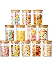 8oz Glass Jars Set of 12, AIKWI Glass Spice Jars with Bamboo Lids and Labels, Airtight Glass Food Storage Jar Canisters for Tea, Beans, Coffee, Snacks and More