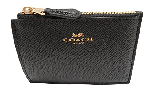 Coach F12186 Mini Skinny ID CASE in CROSSGRAIN Leather Black -