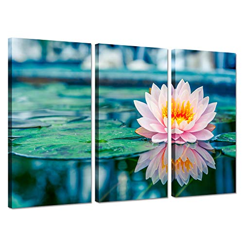 Hello Artwork 3 Panel Canvas Wall Art Beautiful Water Zen Lily Pink Lotus Flowers in The Pond with Reflection Giclee Print On Canvas Gallery Wrap Modern Home Decor Ready to Hang 16