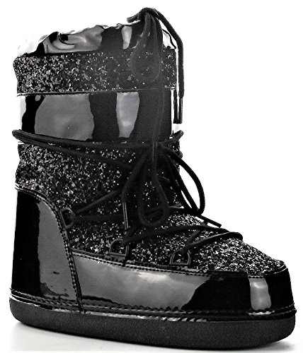 MB-11 Women Ankle High Ski Snow Winter Lace Up Glitter Moon Boots Black