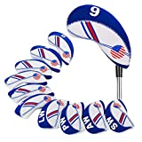 HIFROM(TM) Golf US Flag Neoprene Golf Club Head Cover Wedge Iron Protective Headcover For most Brands White & Blue