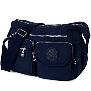 Crossbody Travel Bag Nylon Multi-pocket Shoulder Bag (938 Navy blue)