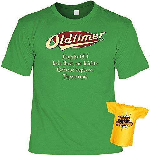 Modisches Herren Fun-T-Shirt als ideale Geschenkeidee im Set zum 45. Geburtstag + Mini Tshirt Jahrgang 1972 Farbe: hellgrün