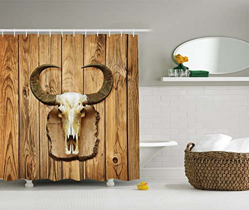 ambesonne-western-decor-collection-broken-cracked-buffalo-bull-skull-with-horns-hanging-on-rustic-wo