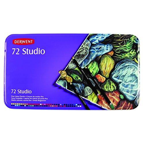 Derwent Studio Colored Pencils, 3.4mm Core, Metal Tin, 72 Count (32201) by Derwent