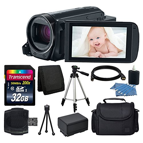 Canon VIXIA HF R700 Full HD Camcorder (Black) + Transcend 32GB SDHC Memory Card + Camera/Video Case + Full Tripod + Camera/Video Case + USB Card Reader + Cleaning Kit + Extra Battery + Complete Bundle by PHOTO4LESS
