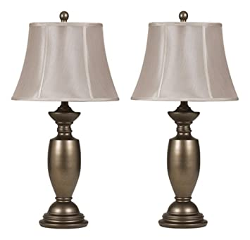 Ashley Furniture Signature Design   Ruth Metal Traditional Table Lamp    Glamorous Bell Shaped Shades