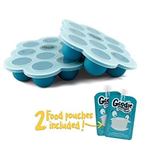 Silicone Freezer Tray for Baby Food Storage - Twin Pack - With Bonus 2 Reusable Food Pouches - BPA Free High Quality Freezer Container with Lid for Homemade Puree, Ice, Breastmilk & Baking (Baby Food Glass Freezer Trays compare prices)