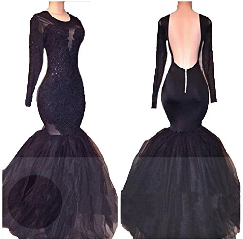 CCBubble Prom Long Dress Lace Prom Dresses 2018 Mermaid Sleeves Black UwqrH6U