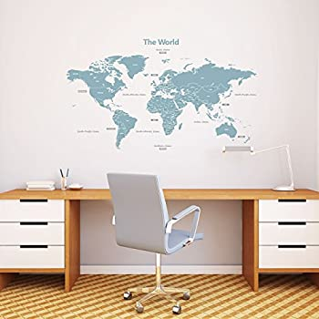 Amazon world map stencil 5633 inches home kitchen decowall dl 1509b modern blue world map kids wall decals wall stickers peel and stick removable wall stickers for kids nursery bedroom living room large gumiabroncs Image collections