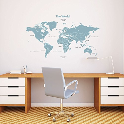 Decowall DL-1509B Modern Blue World Map Kids Wall Decals Wall Stickers Peel and Stick Removable Wall Stickers for Kids Nursery Bedroom Living Room (Large)